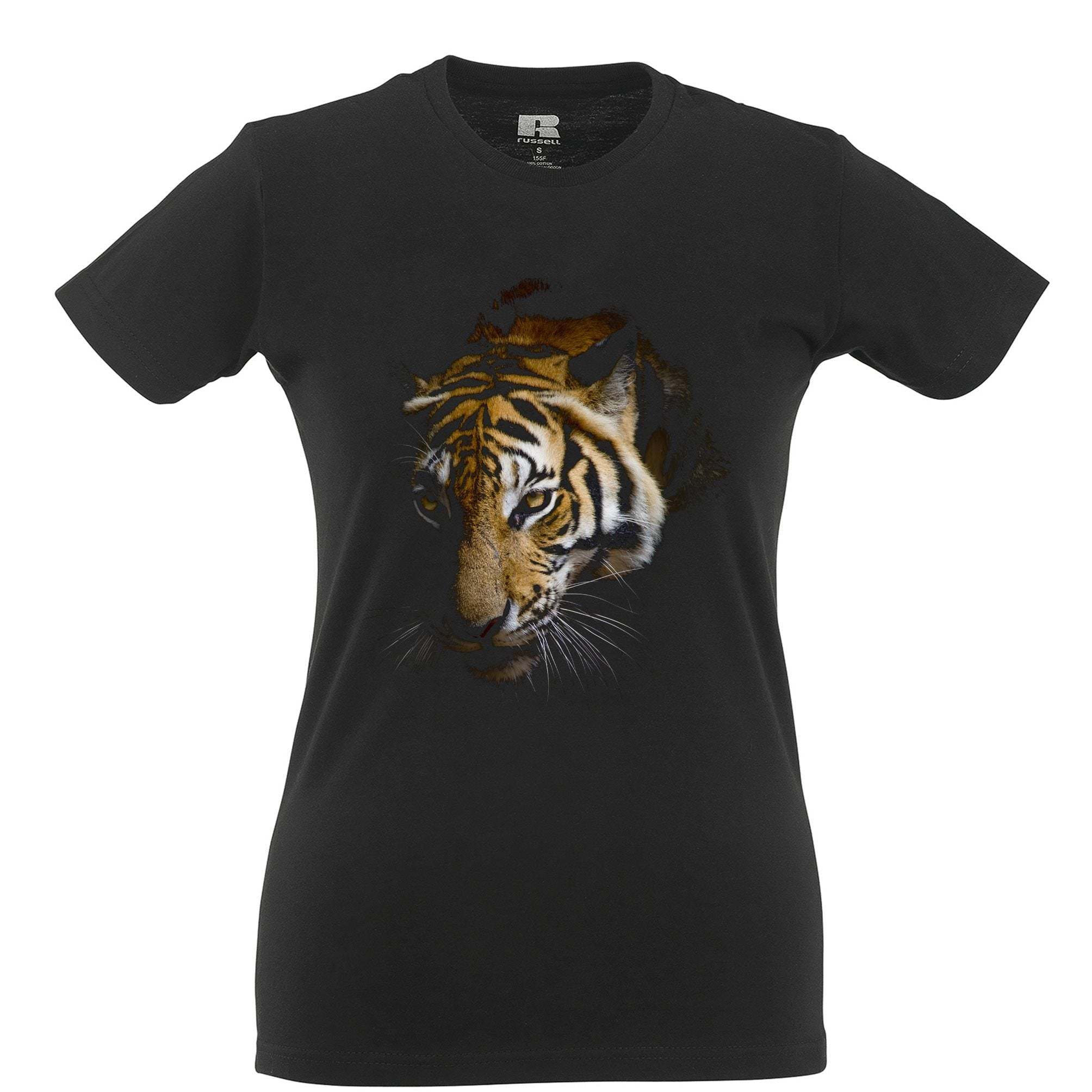 Tiger Womens T Shirt Photographic Animal Head