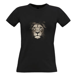 Stylish Animal Womens Tee Photographic Lion Face Design