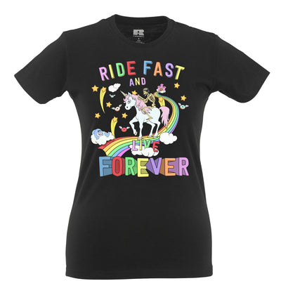Unicorn Womens T Shirt Ride Fast And Live Forever Skeleton