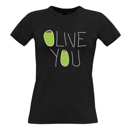 Valentines Day Womens Tee Olive You Slogan