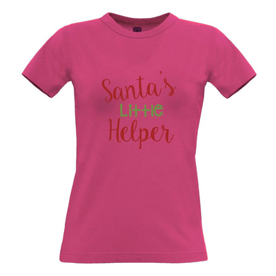 Christmas Womens T Shirt Santa's Little Helper Slogan