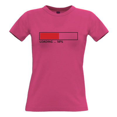 50th Birthday Womens T Shirt Loading 50% Complete Fifty