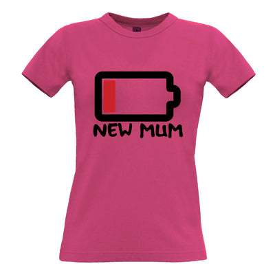 New Mum Womens T Shirt Low Battery Remaining Novelty Joke
