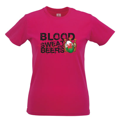 Wales Rugby Supporters Womens T Shirt Blood, Sweat And Beers
