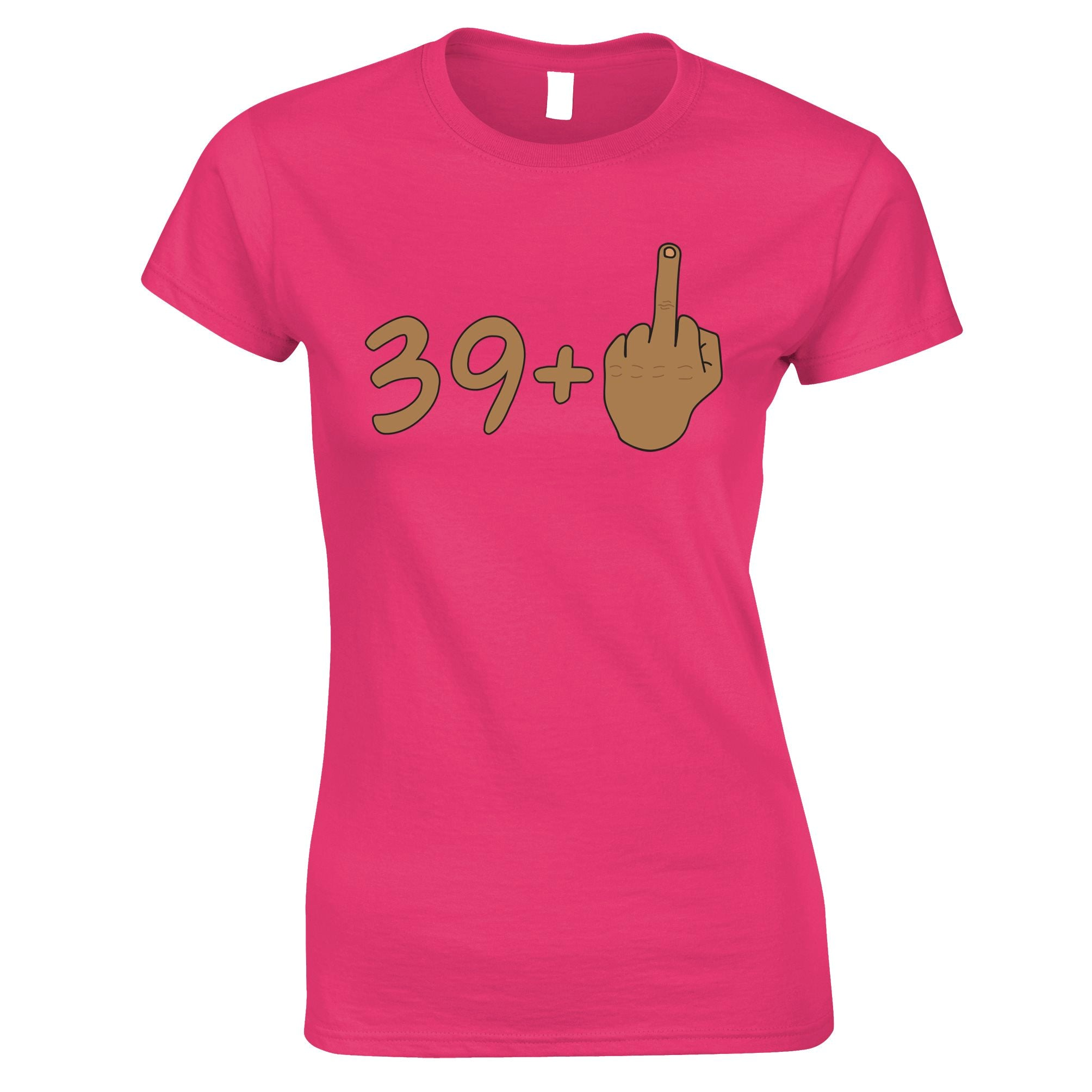 Rude 40th Birthday Womens TShirt Tanned Middle Finger
