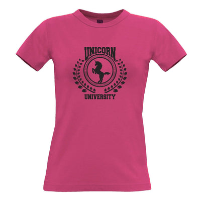 College Parody Womens T Shirt Unicorn University Logo