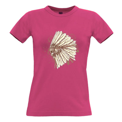 Native American Art Womens T Shirt Chieftain Headress Skull