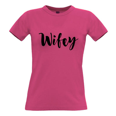 Novelty Couples Womens TShirt Wifey Unmarried Slogan