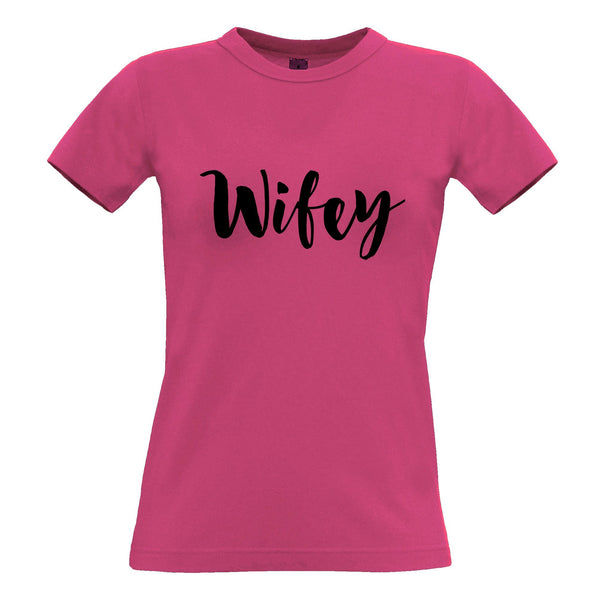 Novelty Couples Womens T Shirt Wifey Unmarried Slogan