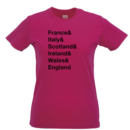 The Six Nations Womens Tee France, Italy, Scotland
