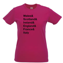 The Six Nations Womens Tee Wales, Scotland, Ireland