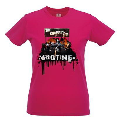 Halloween Womens T Shirt The Zombies Are Rioting Art
