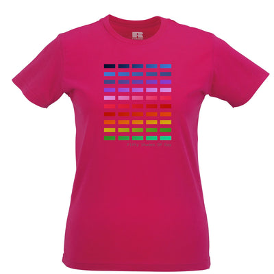 50 Shades Of Gay Womens T Shirt Rainbow LGBT+ Pride Tee
