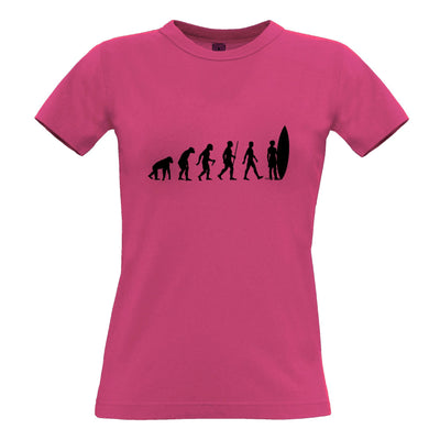 Summer Beach Womens T Shirt Evolution Of A Surfer Dude