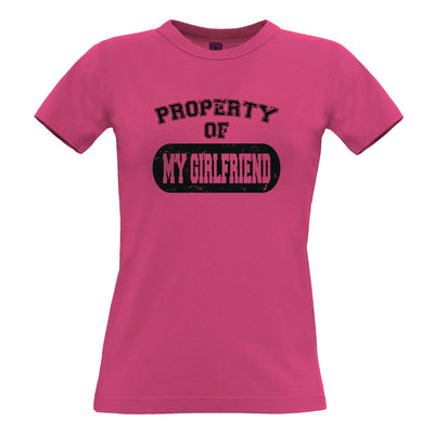 Valentine's Day Womens T Shirt Property Of My Girlfriend