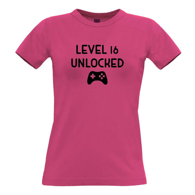 Gamers 16th Birthday Womens T Shirt Level 16 Unlocked Slogan