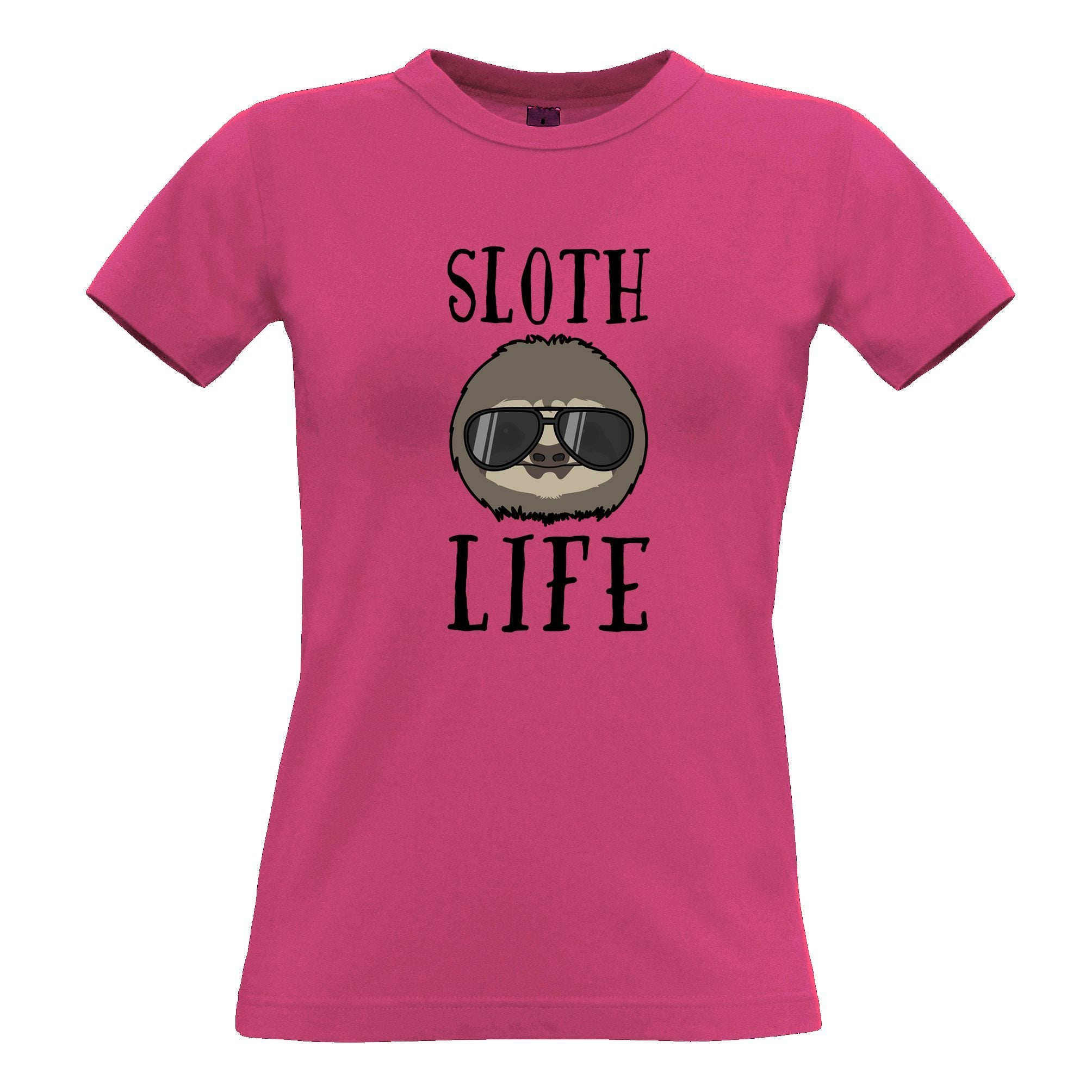 Novelty Animal Womens TShirt Sloth Life Pun Slogan