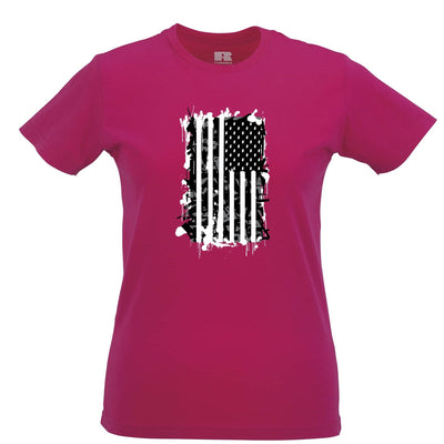 American Flag Womens T Shirt Stylised with Graffiti