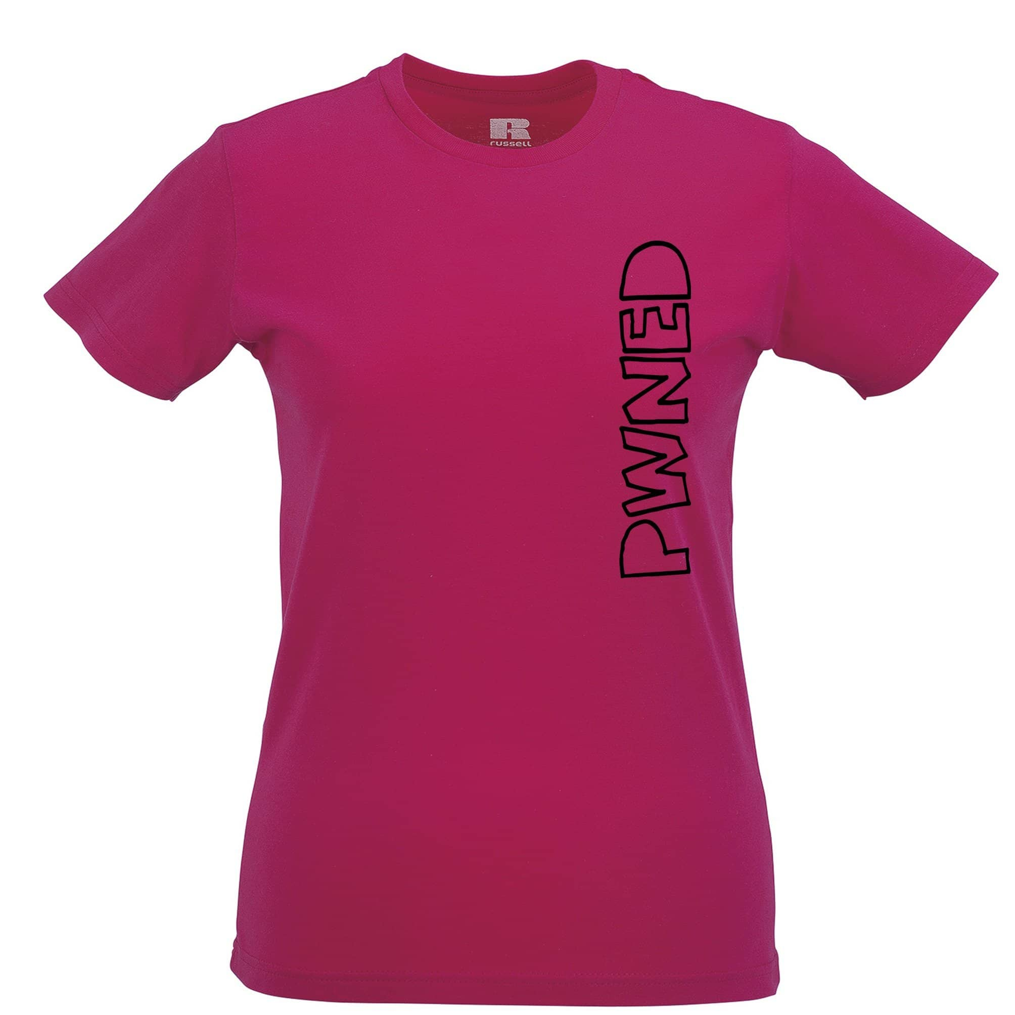 Novelty Gaming Womens TShirt PWNED Sideways Text Slogan