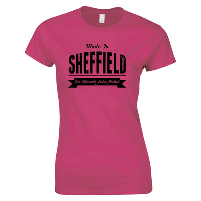 Hometown Pride Womens TShirt Made in Sheffield Banner