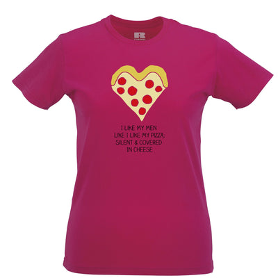 Novelty Womens T Shirt Like My Men Like I Like My Pizza Joke