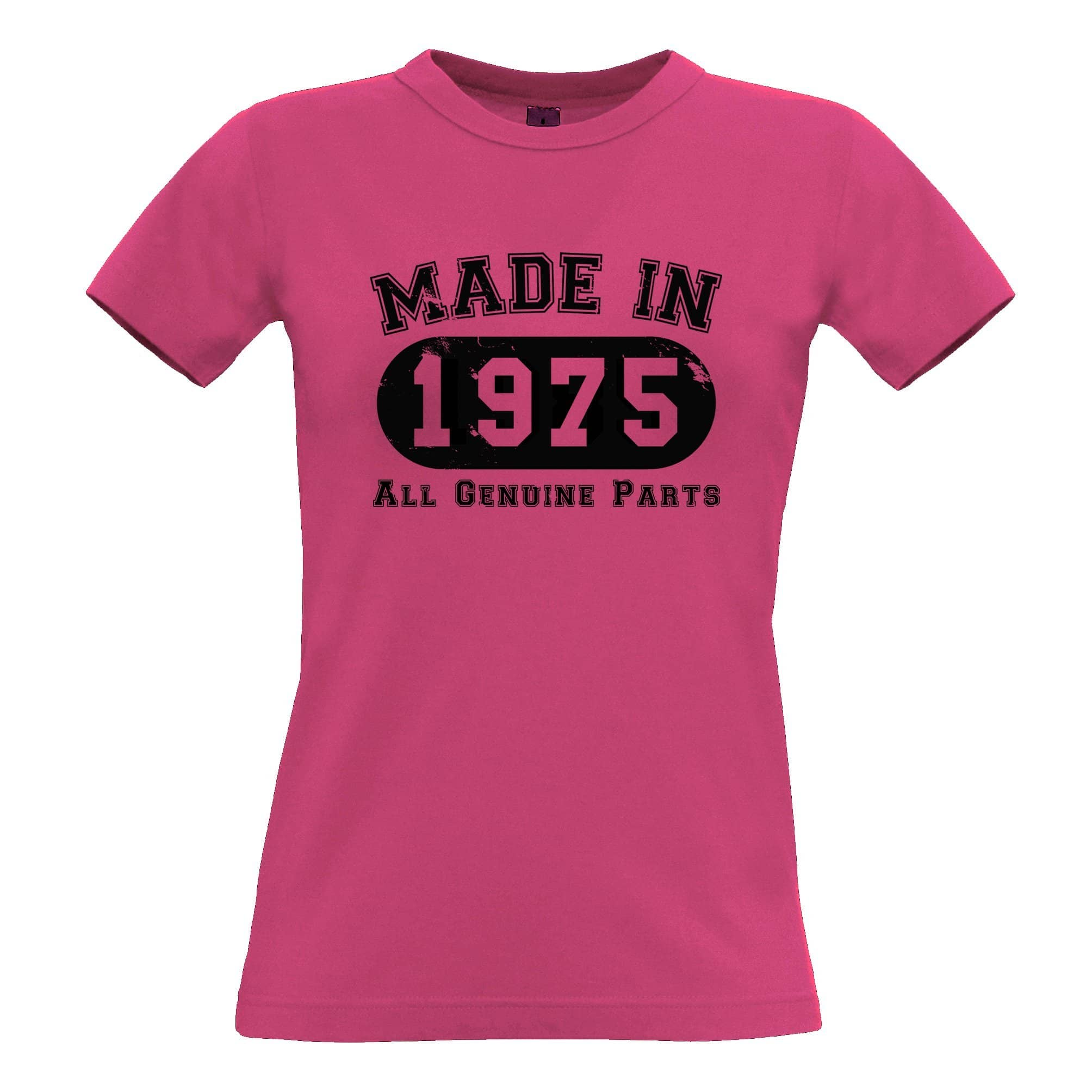 Birthday Womens T Shirt Made in 1975 All Genuine Parts