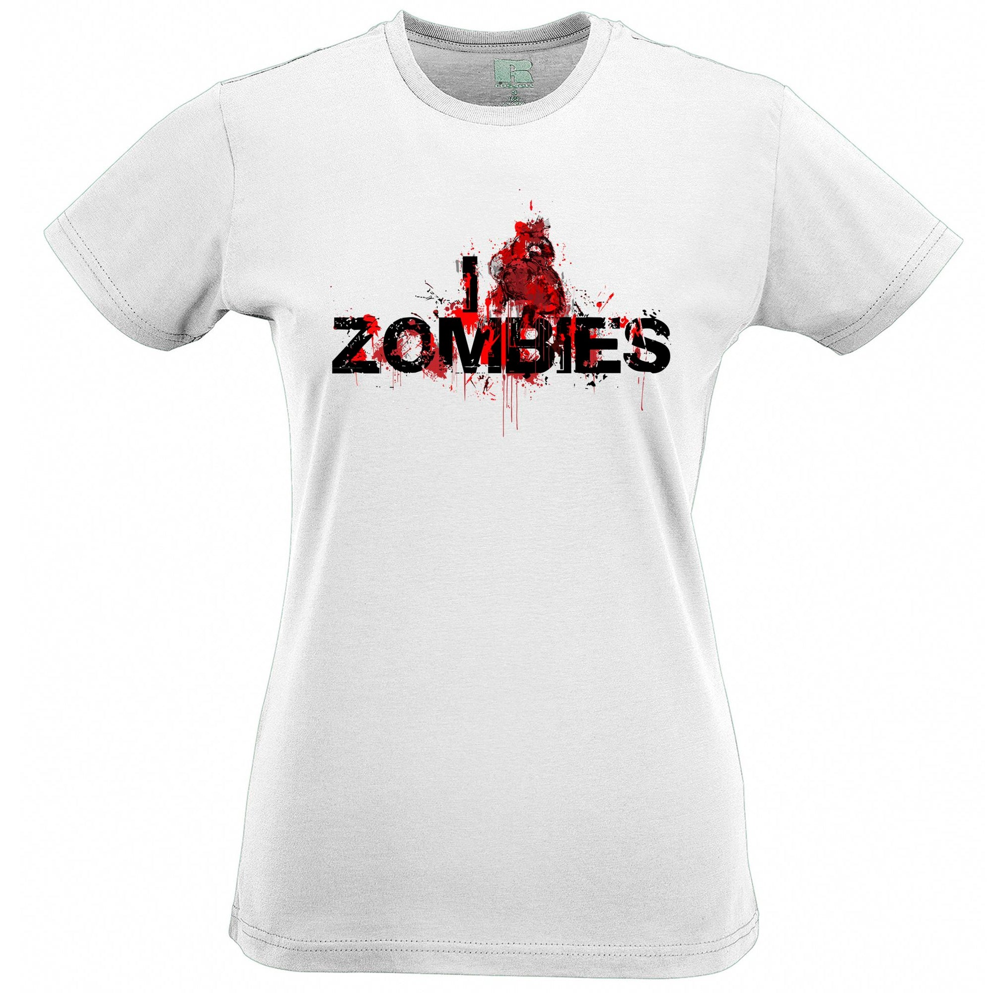 Halloween Womens T Shirt I Love Zombies Slogan Tee