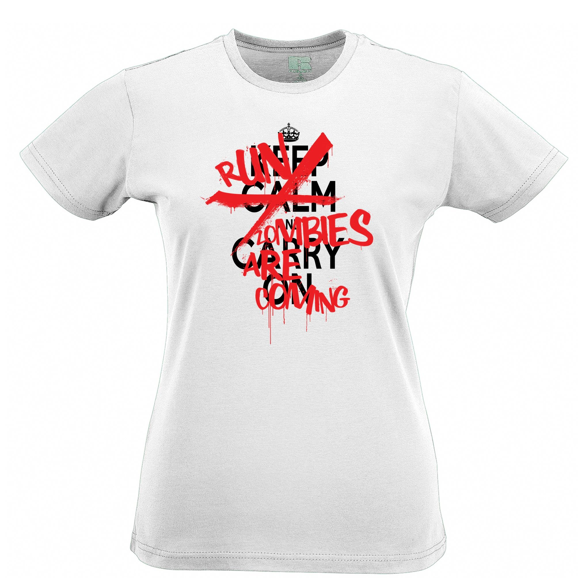 Keep Calm & Carry On | Run, Zombies Are Coming Womens T Shirt Tee
