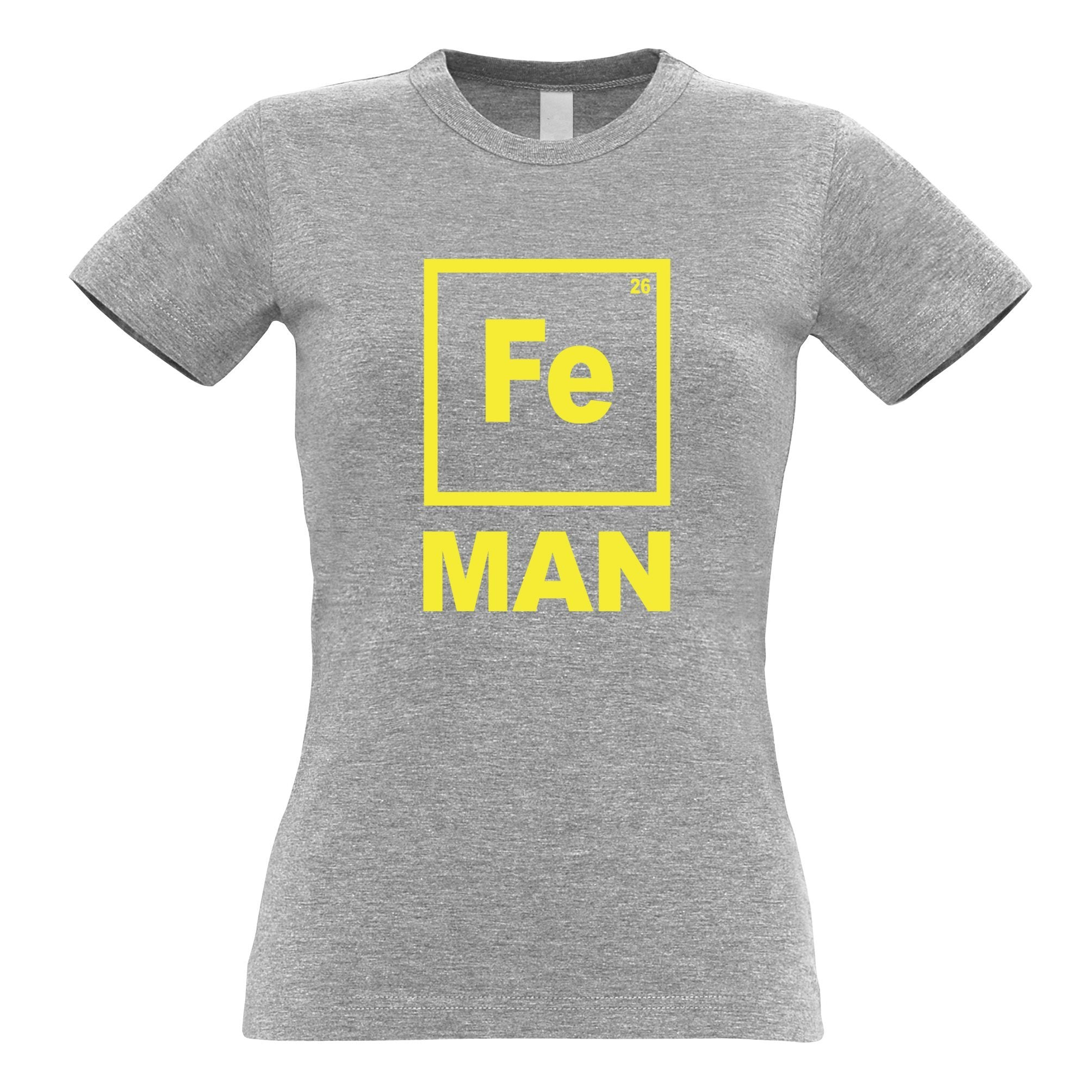 Novelty Nerdy Womens T Shirt Fe Man Iron Chemical Symbol