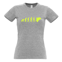 Biking Womens Tee Evolution Of A Motorbike Neon Yellow