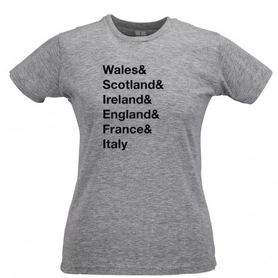 The Six Nations Womens T Shirt Wales, Scotland, Ireland