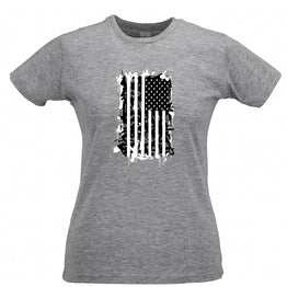 American Flag Womens Tee Stylised with Grenades Graffiti