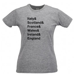The Six Nations Womens Tee Italy, Scotland, France