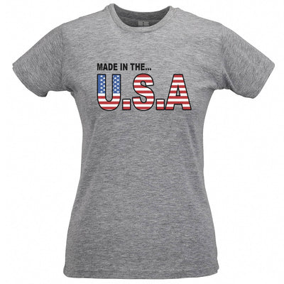 American Womens T Shirt Made In The USA Stylised Flag Text