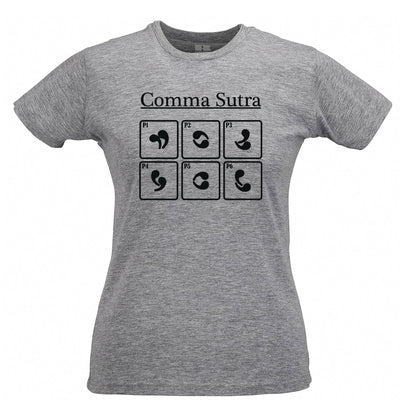 Novelty English Womens T Shirt Comma Sutra Grammar Joke