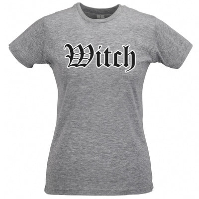 Halloween Womens T Shirt Stylised Witch Text