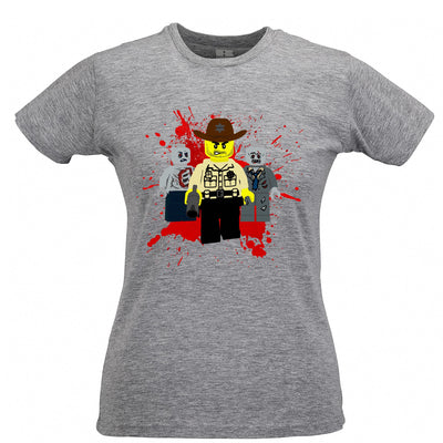 Walking Bricks Womens T Shirt Rick and Zombies Tee