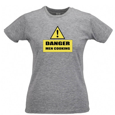 Novelty Barbecue Womens T Shirt Danger! Men Cooking Sign