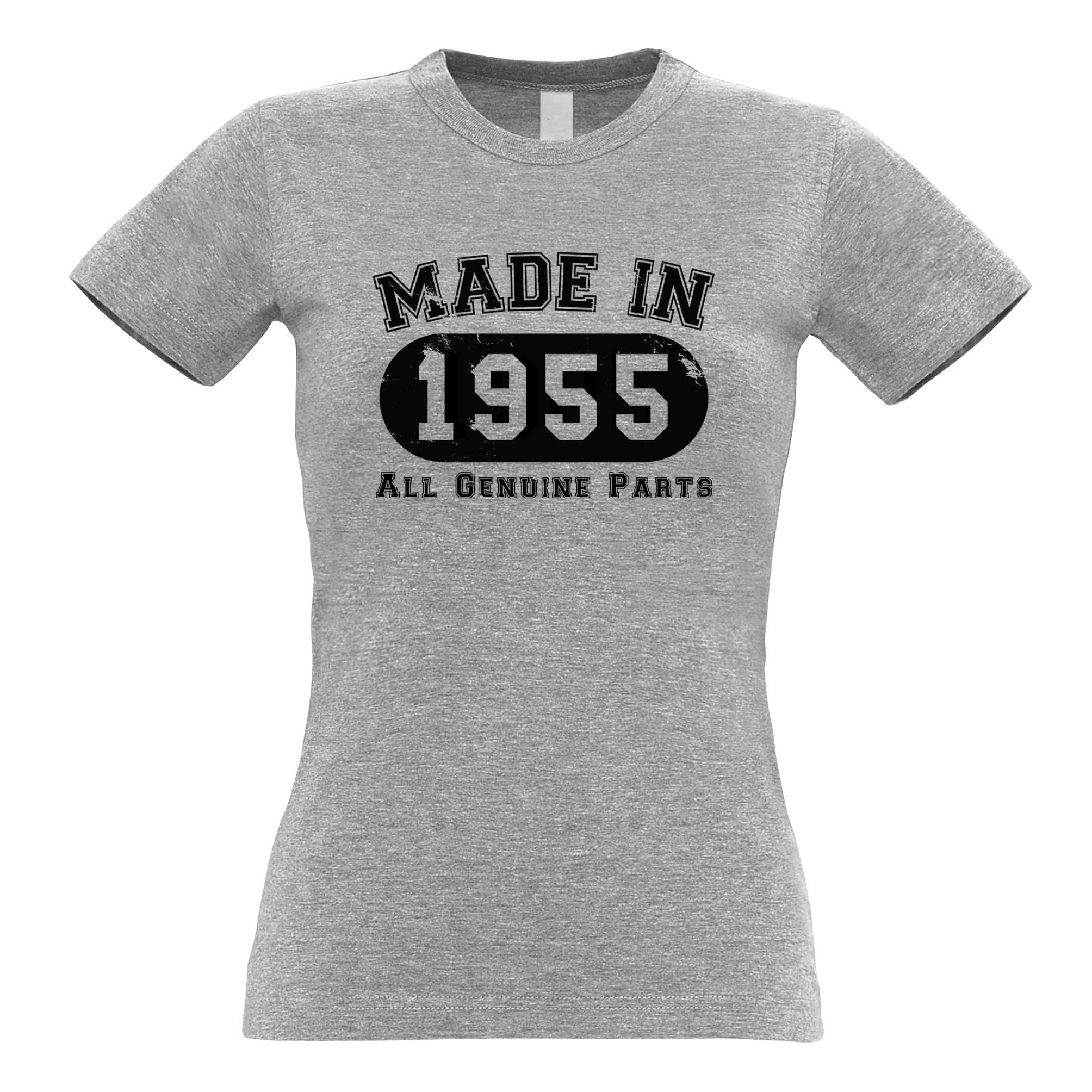 Birthday Womens T Shirt Made in 1955 All Genuine Parts