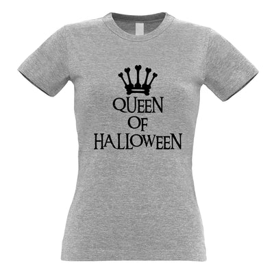 Novelty Spooky Womens T Shirt Queen Of Halloween Crown