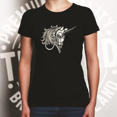 Gothic Art Womens T Shirt Armoured Unicorn Graphic