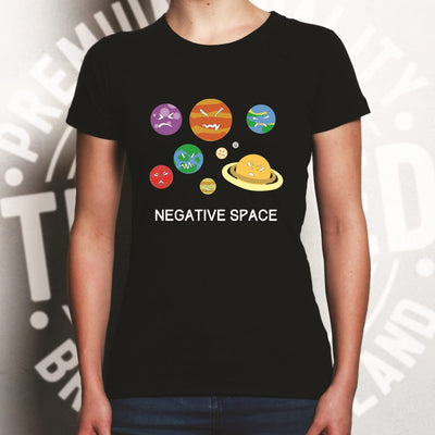 Solar System Joke Womens T Shirt Negative Space And Planets