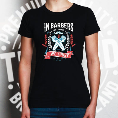 Novelty Womens T Shirt In Barbers We Trust Logo