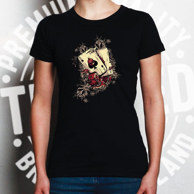 Gambling Art Womens T Shirt Cards And Dice Graphic