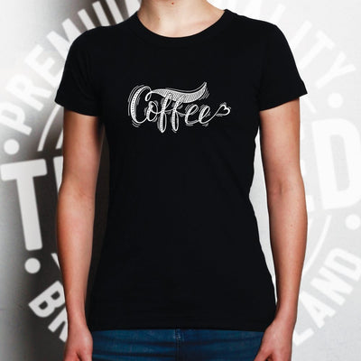 Novelty Slogan Womens T Shirt Coffee Heart Logo