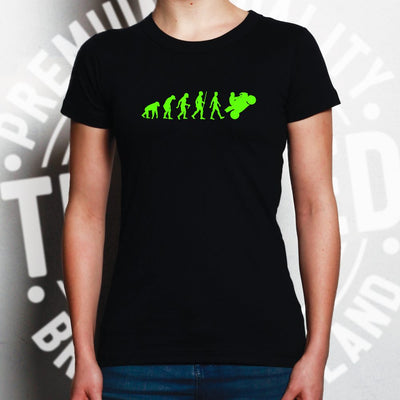 Motorcycle Womens T Shirt Neon Green Evolution of a Biker
