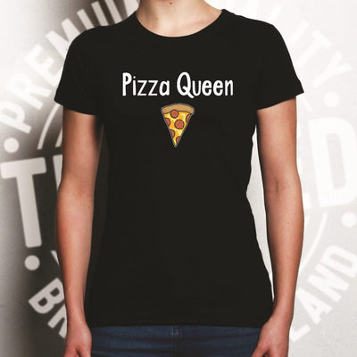 Novelty Food Womens T Shirt Pizza Queen Slogan With Slice