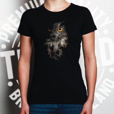Owl Face Womens T Shirt Nocturnal Bird Of Prey