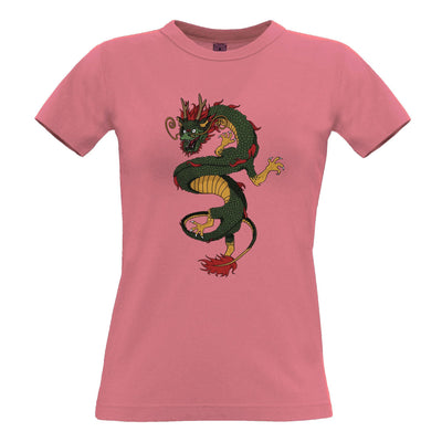 Traditional Chinese Womens T Shirt Serpent Dragon Art