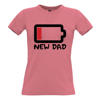 New Dad Womens T Shirt Low Battery Remaining Novelty Joke